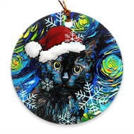 Black Cat In Santa Hat Ornament