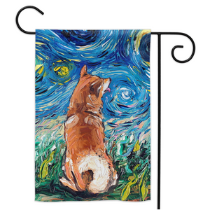 Shiba Inu Night Yard Flags