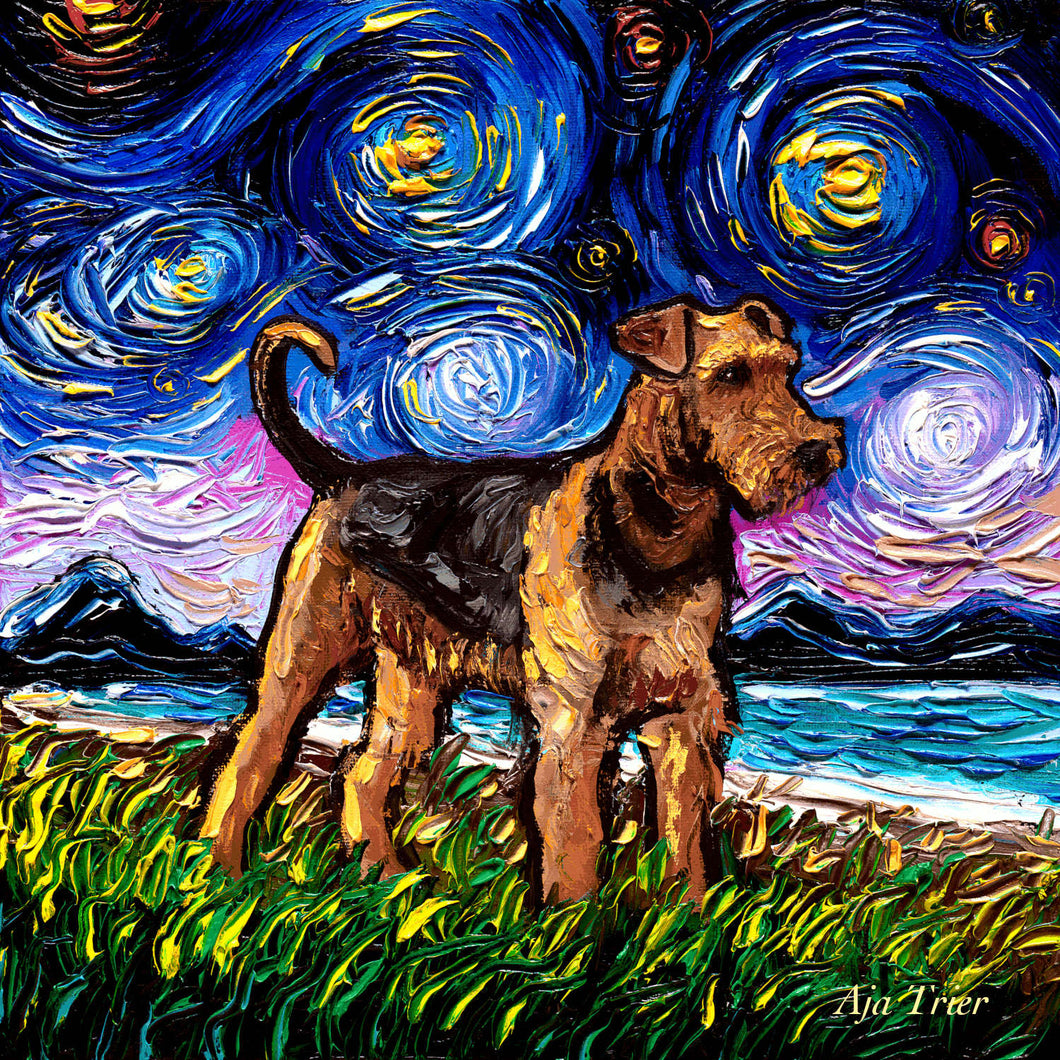 Airedale Terrier Night, 12x12 Original Oil Painting