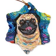 Pug Night, Happy, Porcelain Ornaments