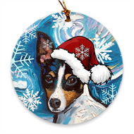 Toy Fox Terrier in Santa Hat Ornament