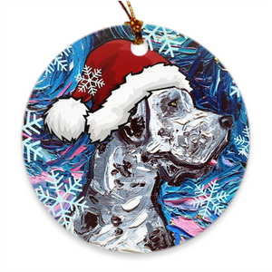 Great Dane, Merle in Santa Hat Ornament