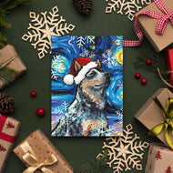 Blue Heeler Night Christmas Greeting Card