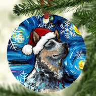 Blue Heeler In Santa Hat Ornament