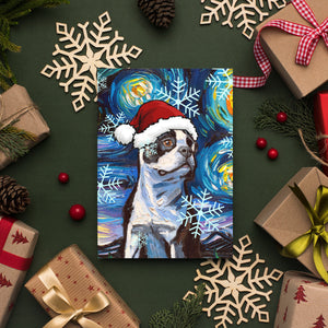 Boston Terrier Night Christmas Greeting Card