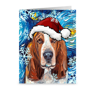 Basset Hound Night Christmas Greeting Cards
