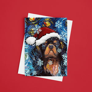 Cavalier King Charles Spaniel Night Christmas Greeting Card