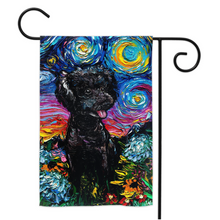 Load image into Gallery viewer, Poodle Night, Black with Hydrangeas, Yard Flags