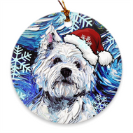 Westie in Santa Hat Ornament