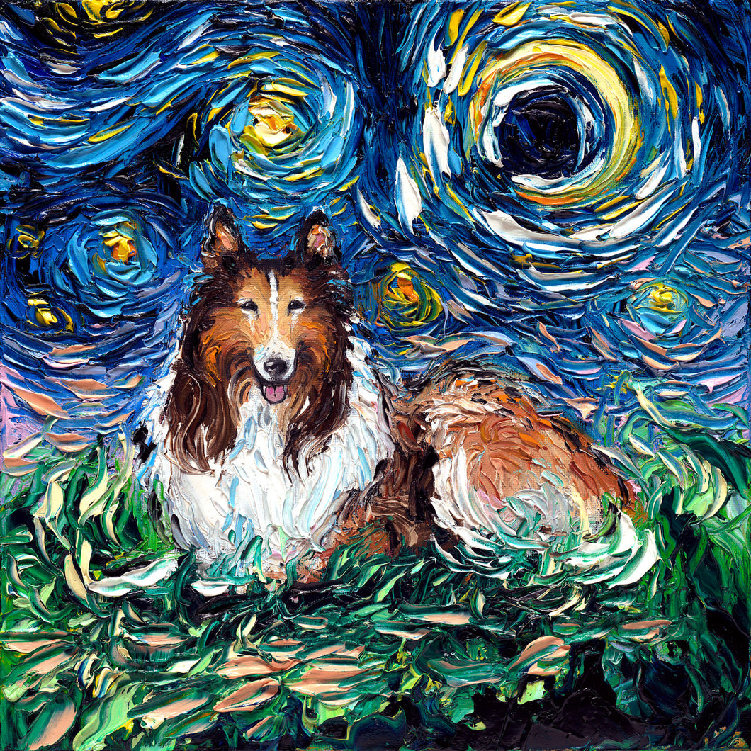 Collie Night Canvas Print