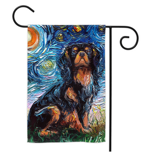 Cavalier King Charles Spaniel Night, Black and Tan, Yard Flags