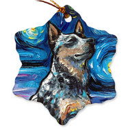 Blue Heeler Night Porcelain Ornaments