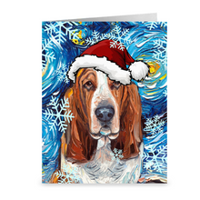 Load image into Gallery viewer, Basset Hound Night Christmas Greeting Cards Packs of 50 or 100