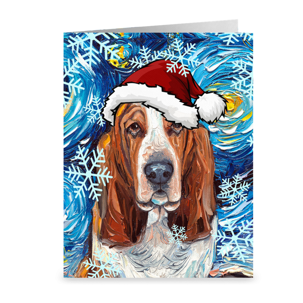 Basset Hound Night Christmas Greeting Cards Packs of 50 or 100