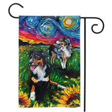 Load image into Gallery viewer, Australian Shepherds Night Yard Flags
