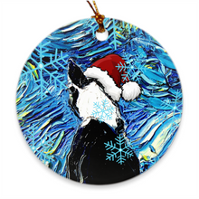 Load image into Gallery viewer, Boston Terrier Night In Santa Hat Ornament