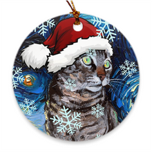 Load image into Gallery viewer, Tabby Cat in Santa Hat Ornament