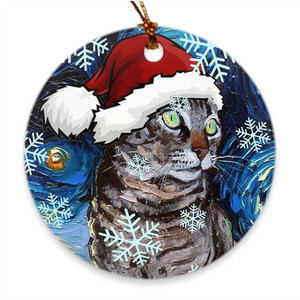 Tabby Cat in Santa Hat Ornament