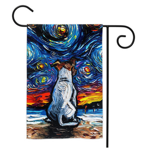 Jack Russell Terrier on a Starry Beach, Yard Flags