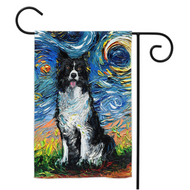 Border Collie Night Yard Flags