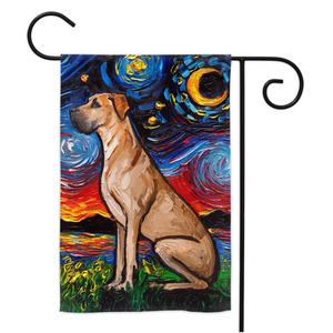 Great Dane, Fawn, Night Yard Flags