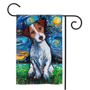 Jack Russell Terrier Night Yard Flags