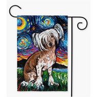 Chinese Crested Night Yard Flags