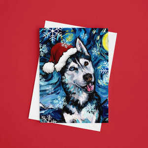 Husky Night, Happy, Christmas Greeting Card
