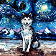 Husky Night Canvas Print