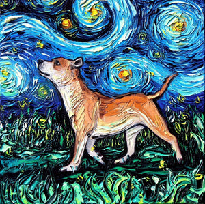 Staffordshire Bull Terrier Starry Night 12x12 Oil on canvas