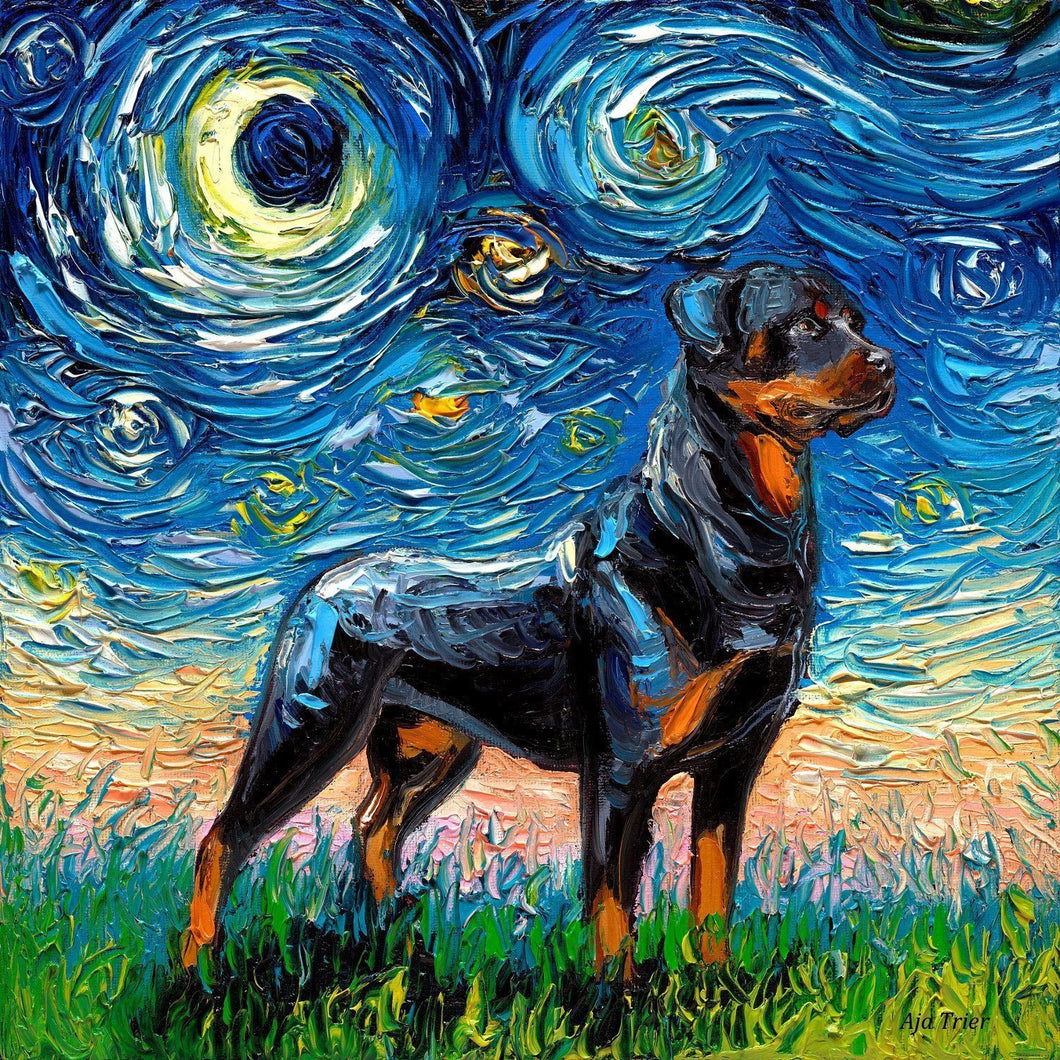 Rottweiler Starry Night 12x12 Oil on canvas