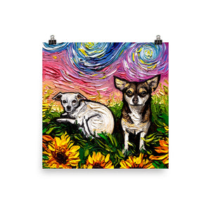 Chihuahuas and Sunflowers, Matte Poster Print