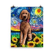 Load image into Gallery viewer, Red Goldendoodle Night 2 Matte Poster Print