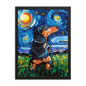 Dachshund Night, Black and Tan Short Hair Framed Photo Paper Poster