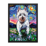 Westie Night 2 Framed Photo Paper Poster
