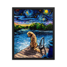 Load image into Gallery viewer, Goldendoodle Night 3 Framed Print