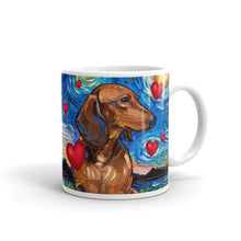 Load image into Gallery viewer, Dachshund Night, Brown Shorthair Valentine Coffee Mug