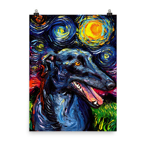 Greyhound Night Matte Poster Print