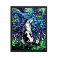 Border Collie Night Framed Photo Paper Poster