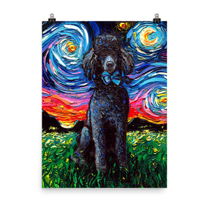 Poodle Night, Black, Matte Poster Print
