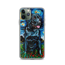 Load image into Gallery viewer, Labrador Night, Black 4 iPhone Case