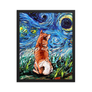 Shiba Inu Night Framed Photo Paper Poster