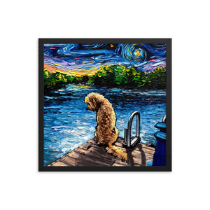 Goldendoodle Night 3 Framed Print