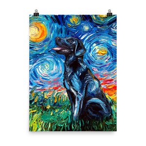 Labrador Night, Black Matte Poster Print