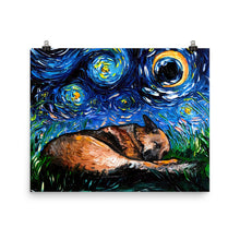 Load image into Gallery viewer, German Shepherd Night, Sleeping Matte Poster Print