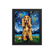 Cocker Spaniel Night, Golden Version Framed Photo Paper Poster
