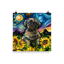 Load image into Gallery viewer, Shih Tzu and Sunflowers, Matte Poster Print