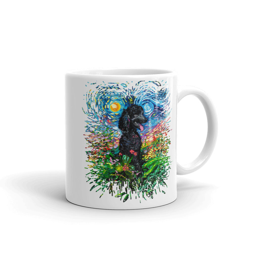 Poodle Night, Black 2, Splash Version Coffee Mug