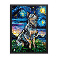 Blue Heeler Night Framed Poster Print