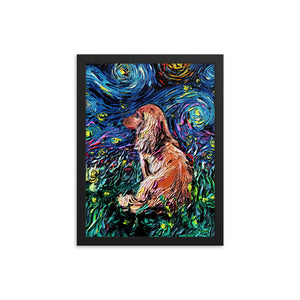 Dachshund Night, Brown Long Hair Framed Photo Paper Poster